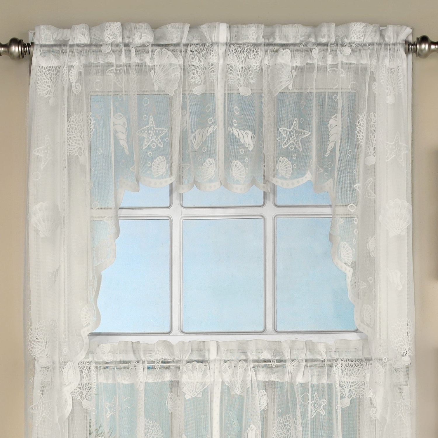 Popular White Knit Lace Bird Motif Window Curtain Tiers In Marine Life Motif Knitted Lace Window Curtain Pieces (View 13 of 20)