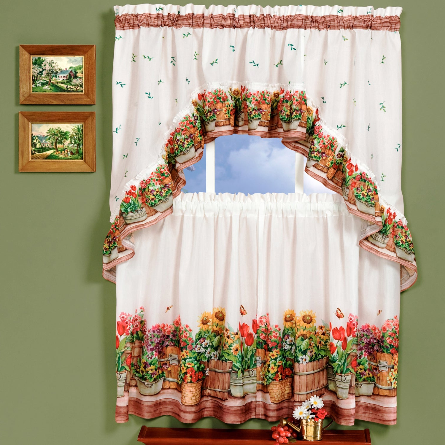 Popular Window Curtains Sets With Colorful Marketplace Vegetable And Sunflower Print Inside Traditional Two Piece Tailored Tier And Swag Window Curtains Set With Ornate Flower Garden Print – 36 Inch (View 6 of 20)