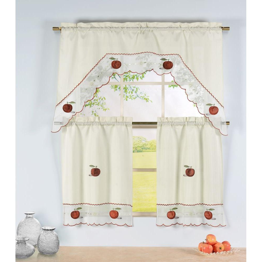Popular Window Elements Semi Opaque Apple Time Embroidered 3 Piece Kitchen Curtain Tier And Valance Set For Embroidered Chef Black 5 Piece Kitchen Curtain Sets (View 10 of 20)