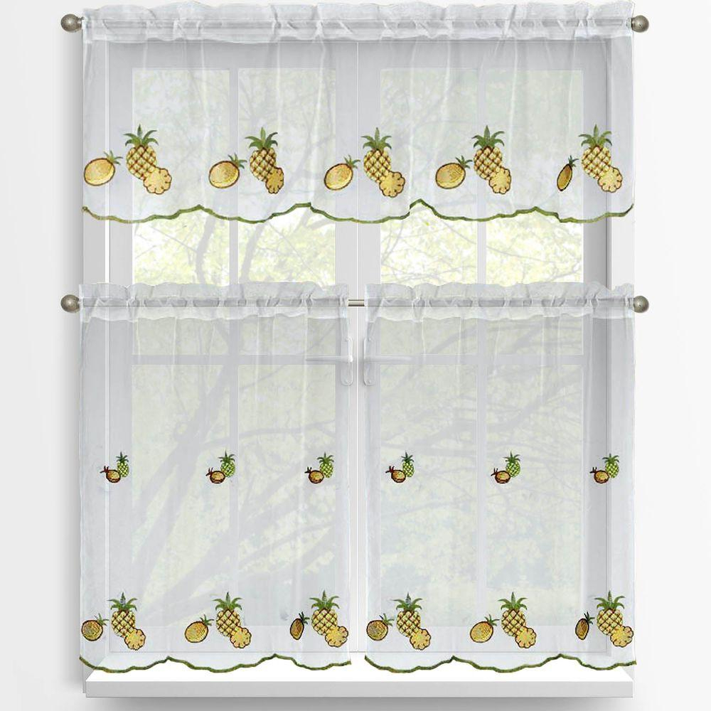 Popular Window Elements Sheer Pineapple Embroidered 3 Piece Kitchen Curtain Tier  And Valance Set Intended For Embroidered Rod Pocket Kitchen Tiers (View 14 of 20)