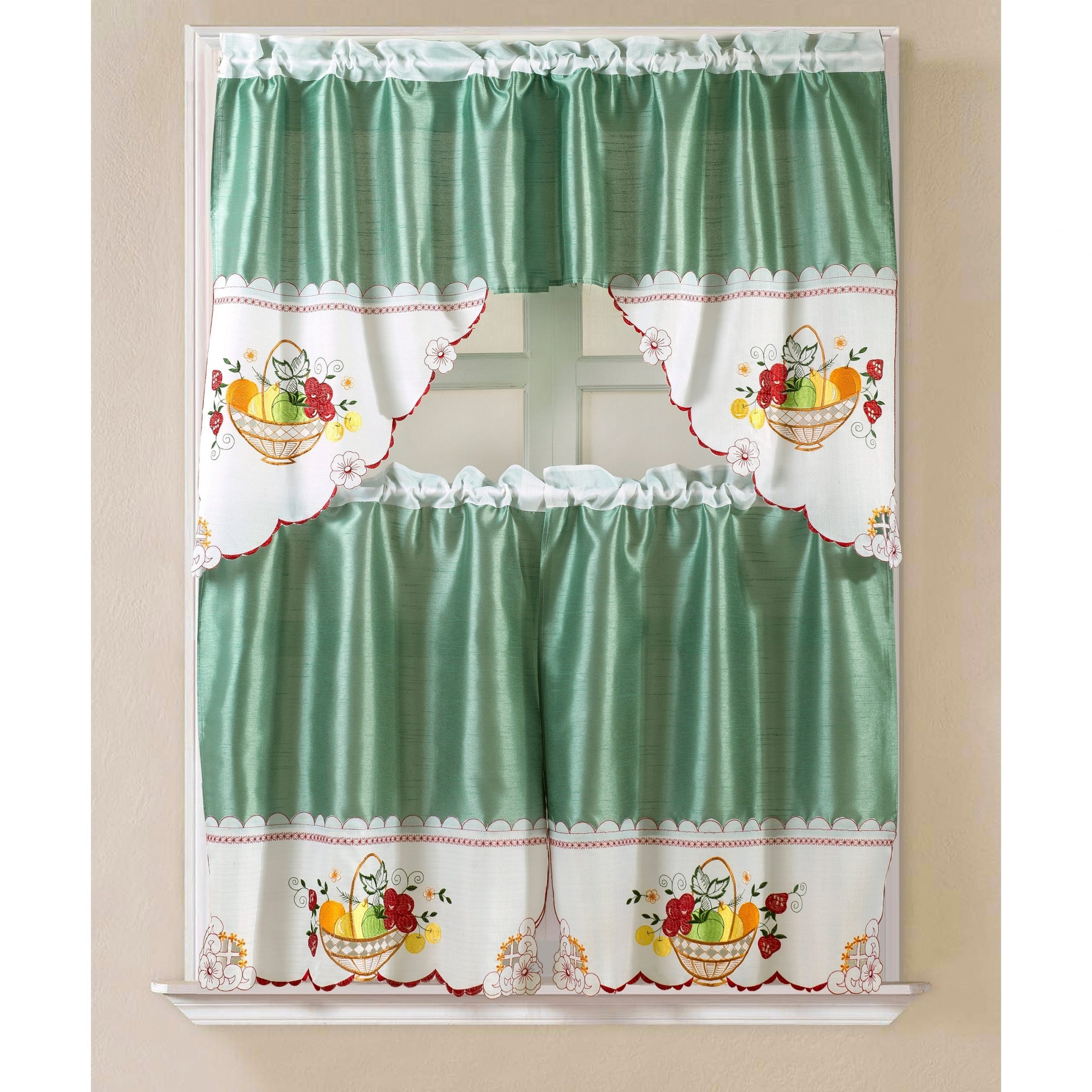 Porch & Den Eastview Faux Silk 3 Piece Kitchen Curtain Set In Widely Used Grace Cinnabar 5 Piece Curtain Tier And Swag Sets (View 14 of 20)