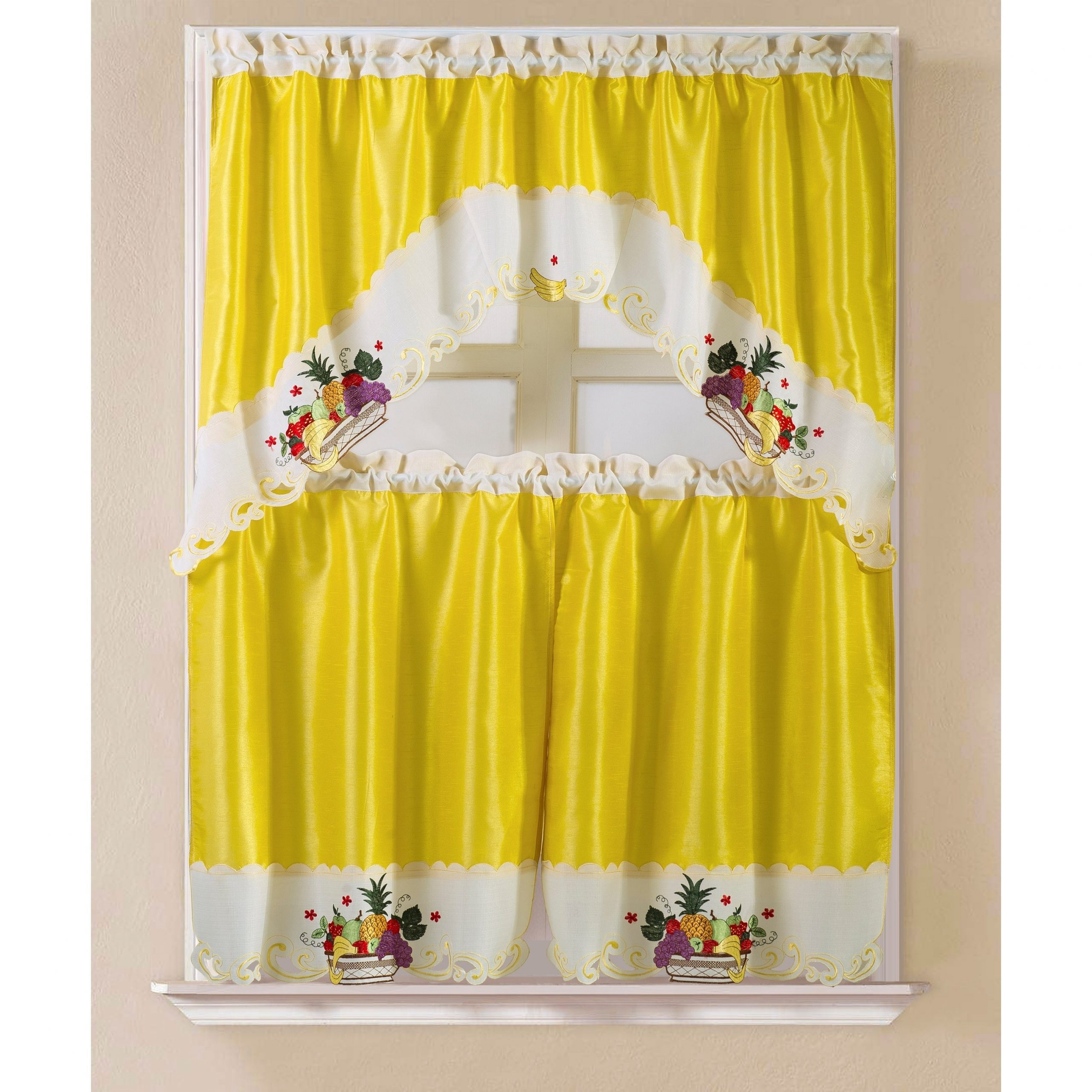 Porch & Den Eastview Faux Silk 3 Piece Kitchen Curtain Set Pertaining To Preferred Faux Silk 3 Piece Kitchen Curtain Sets (View 13 of 20)