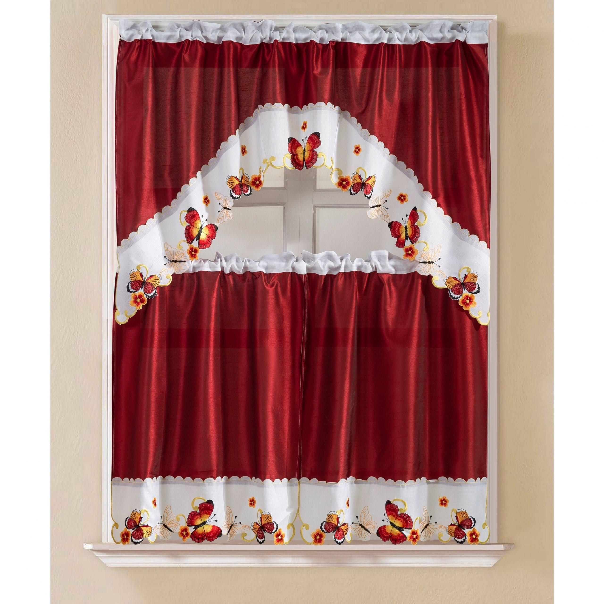 Porch & Den Eastview Faux Silk 3 Piece Kitchen Curtain Set Pertaining To Preferred Multicolored Printed Curtain Tier And Swag Sets (View 14 of 20)