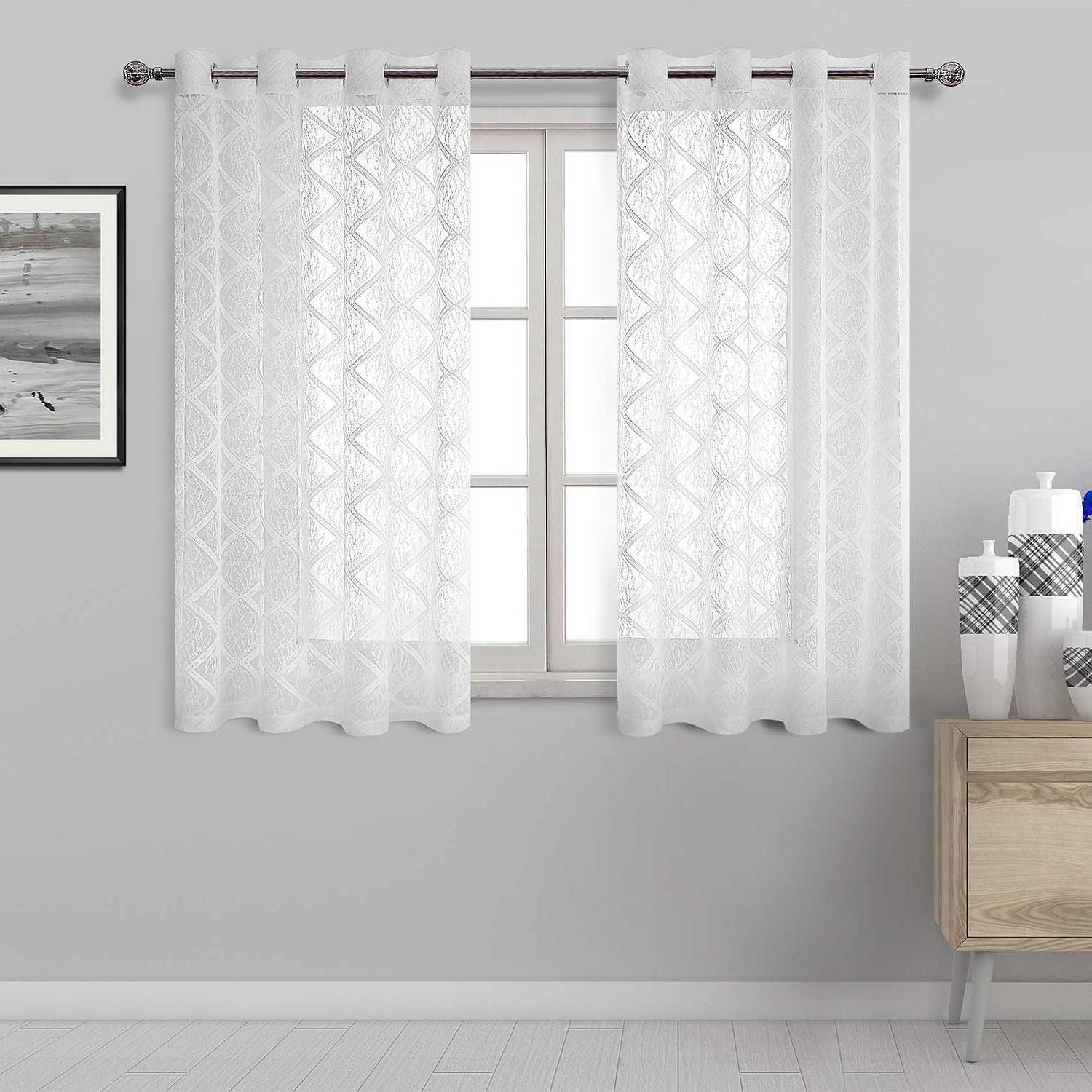 Porch & Den Park Point Blush 24 Inch Tier Pairs In Most Current Dwcn Lace White Sheer Curtains – Grommet Top Geometric Pattern Faux Linen Semi Voile Drapes Bedroom And Kitchen Short Curtains, 52 X 45 Inch Length, (View 17 of 20)