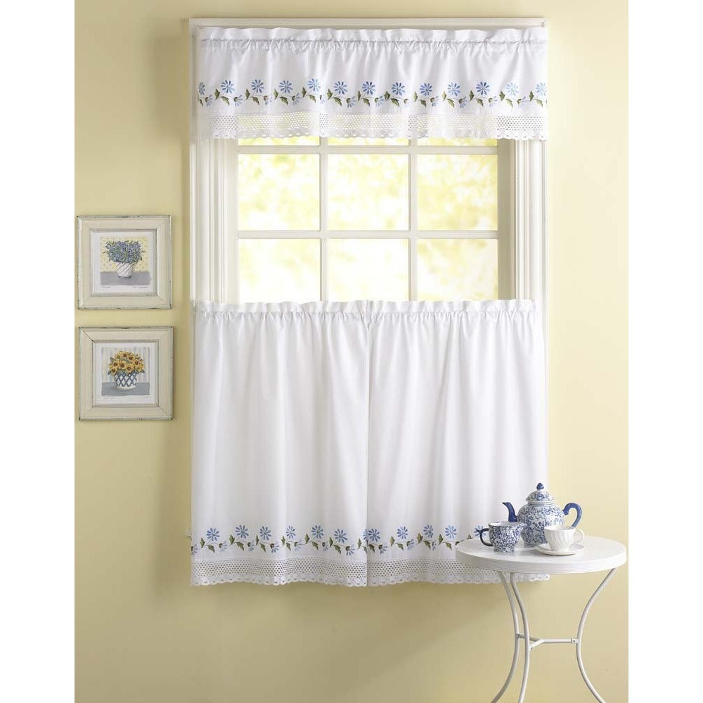 Preferred Abby Embroidered 5 Piece Curtain Tier And Swag Sets Throughout Leighton 3 Piece Curtain Tier And Valance Set (View 18 of 20)