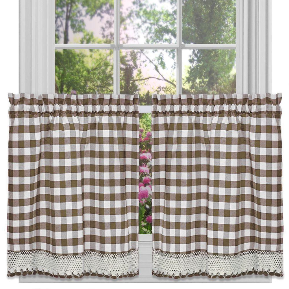 Preferred Barnyard Buffalo Check Rooster Window Valances Intended For Achim Semi Opaque Buffalo Check Taupe Rod Pocket Tier Pair (View 17 of 20)