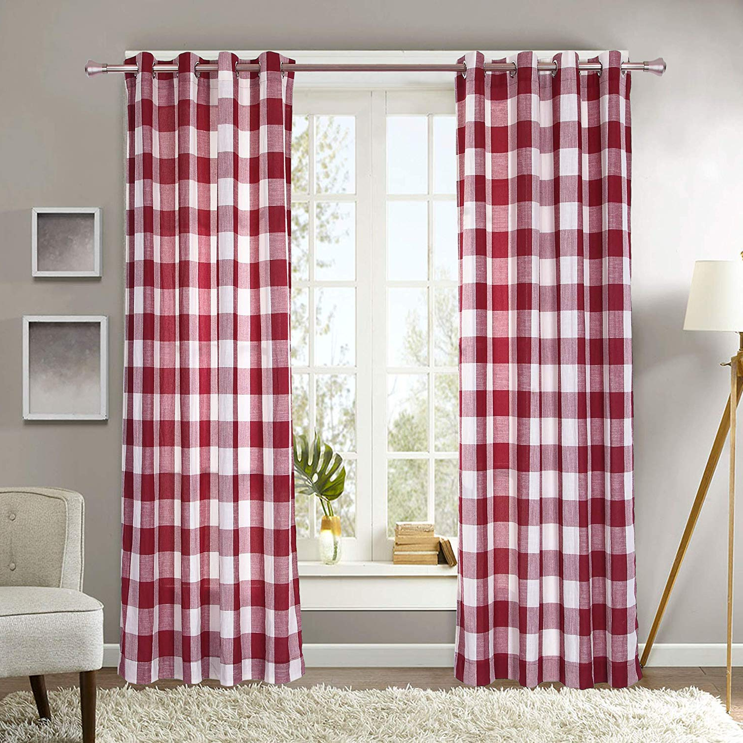 """Preferred Burgundy Cotton Blend Classic Checkered Decorative Window Curtains Throughout Decotex 1 Piece Plaid Buffalo Checkered Grommet Top Window Curtain Drape Panel Or Valance (53"""" X 84"""", Burgundy/beige) (View 16 of 20)"""