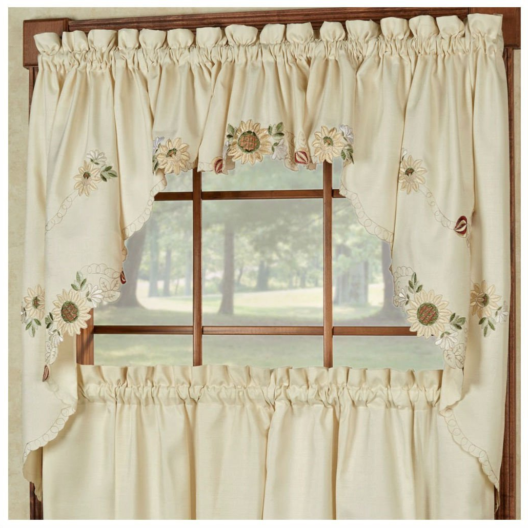 Preferred Buy Sunflower Cream Embroidered Kitchen Curtains – Tiers With Coffee Embroidered Kitchen Curtain Tier Sets (View 13 of 20)