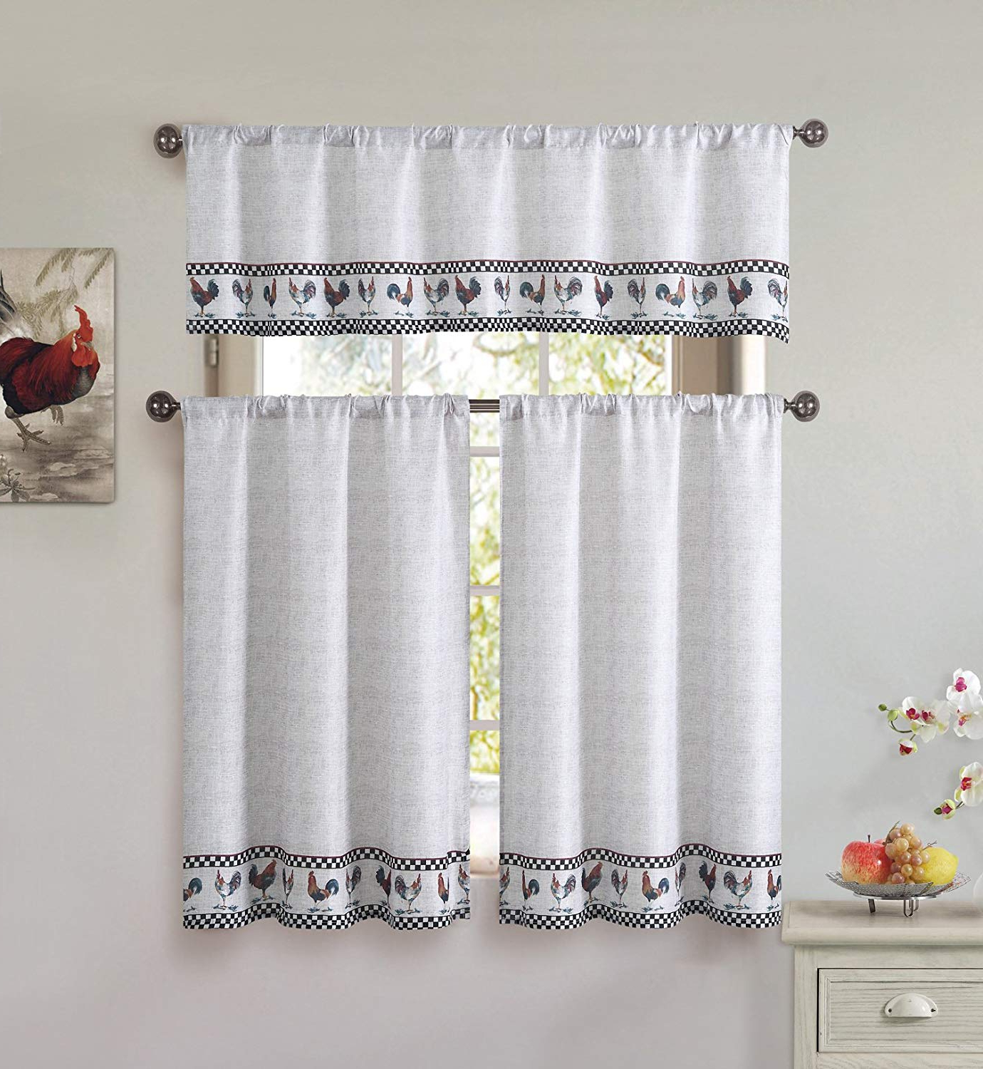 Preferred Cotton Blend 3 Piece Kitchen/cafe Tier Window Curtain Set: Rooster And Check Design Within Embroidered Chef Black 5 Piece Kitchen Curtain Sets (View 20 of 20)