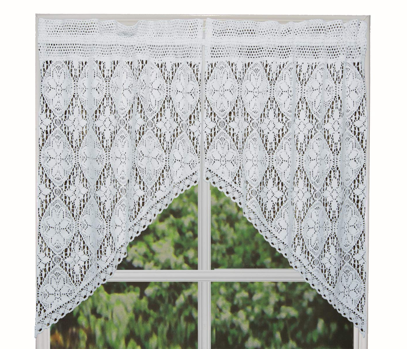 "Preferred Cotton Classic Toast Window Pane Pattern And Crotchet Trim Tiers In Creative Linens Knitted Crochet Lace Kitchen Curtain 38"" L Swags White (View 15 of 20)"