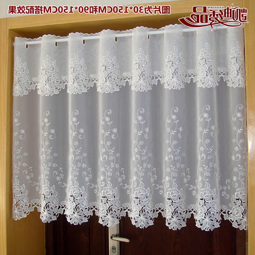 Preferred Countryside Half Curtain Luxurious Embroidered Window With Embroidered 'coffee Cup' 5 Piece Kitchen Curtain Sets (View 20 of 20)