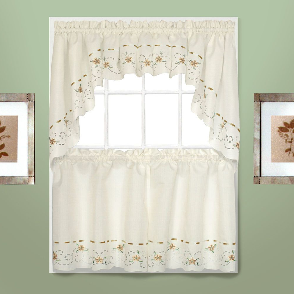 Preferred Details About Strawberries Embroidered Kitchen Curtain Inside Abby Embroidered 5 Piece Curtain Tier And Swag Sets (View 5 of 20)