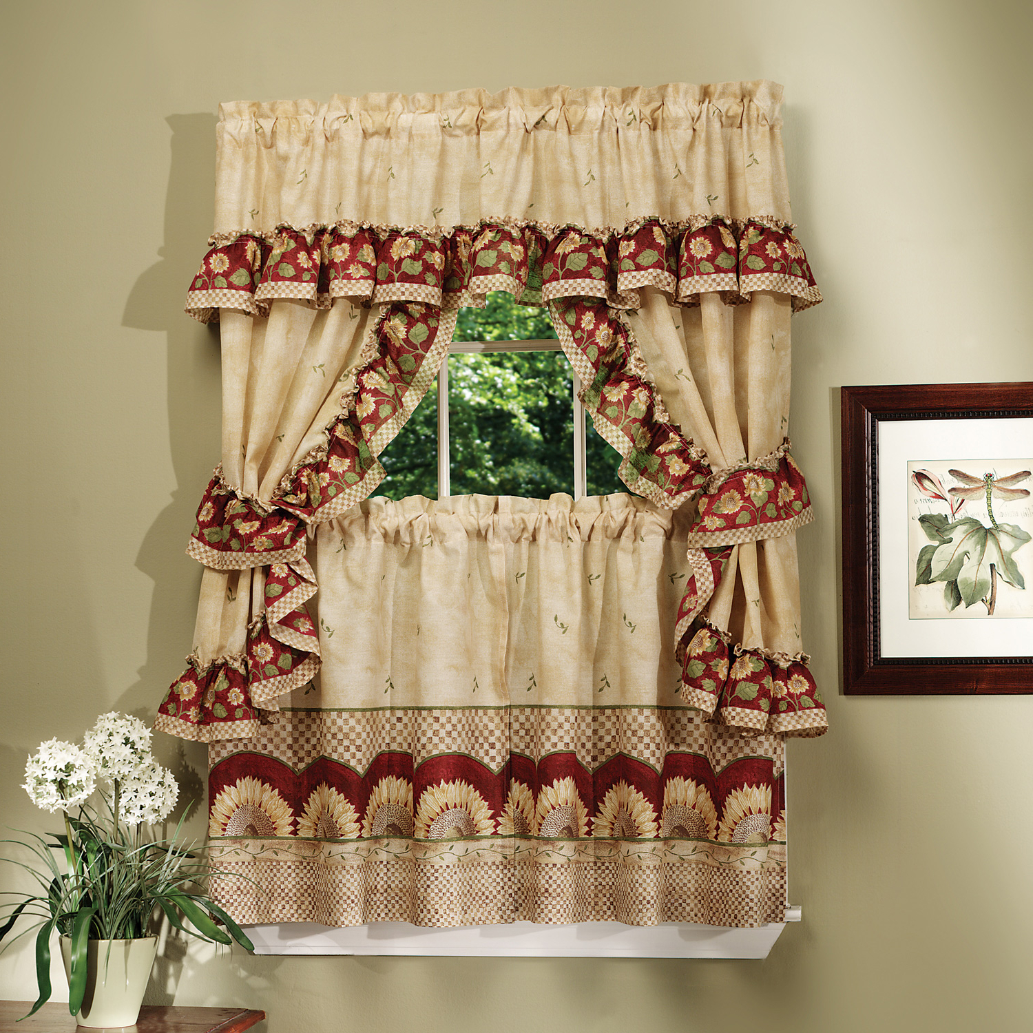 """Preferred Details About Sunflower Kitchen Curtain 36"""" Tier Pair Valence Swag &  Tieback Cottage Set Within Cottage Ivy Curtain Tiers (View 19 of 20)"""