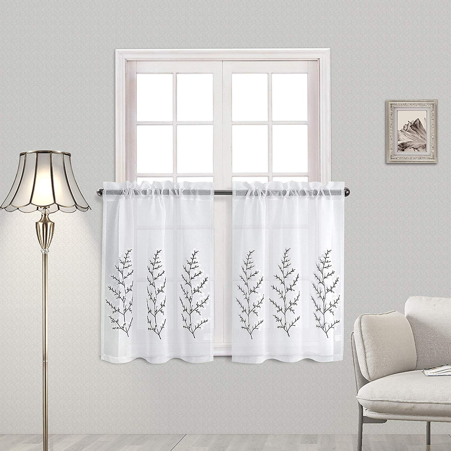 Preferred Dwcn Tier Curtains Kitchen Cafe Floral Embroidered Sheer Window Curtain  Set, Faux Linen Rod Pocket Window Curtains, W 32 X L 36 Inch, 2 Panels Within Embroidered Rod Pocket Kitchen Tiers (View 15 of 20)