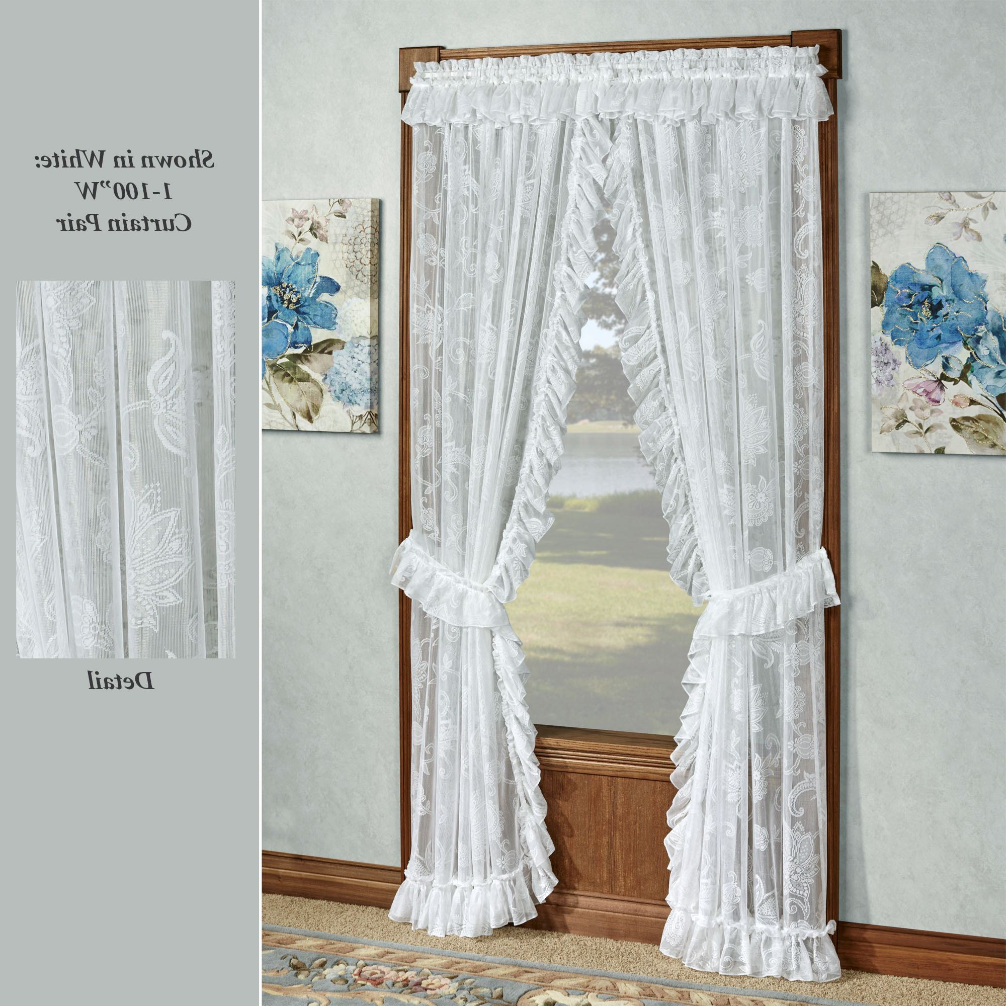 Preferred Elegant White Priscilla Lace Kitchen Curtain Pieces Intended For Maison Semi Sheer Lace Ruffled Priscilla Curtains (View 13 of 20)