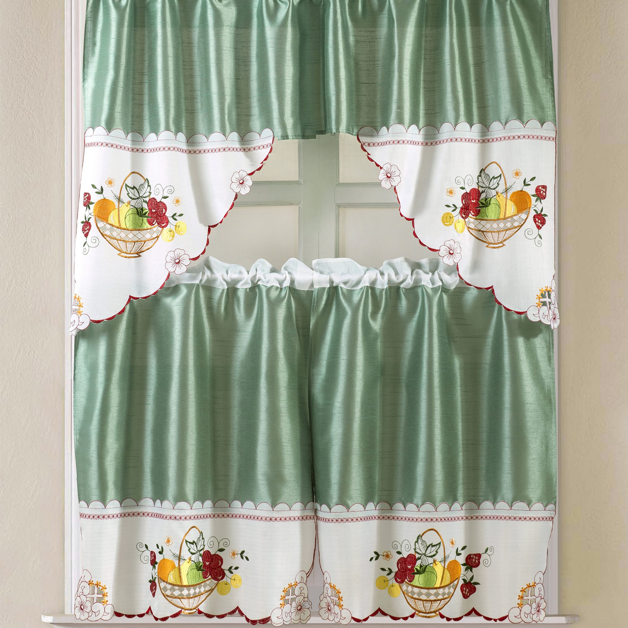 """Preferred Faux Silk 3 Piece Kitchen Curtain Sets Pertaining To Sommers Faux Silk 3 Piece 60"""" Kitchen Curtain Set (View 14 of 20)"""