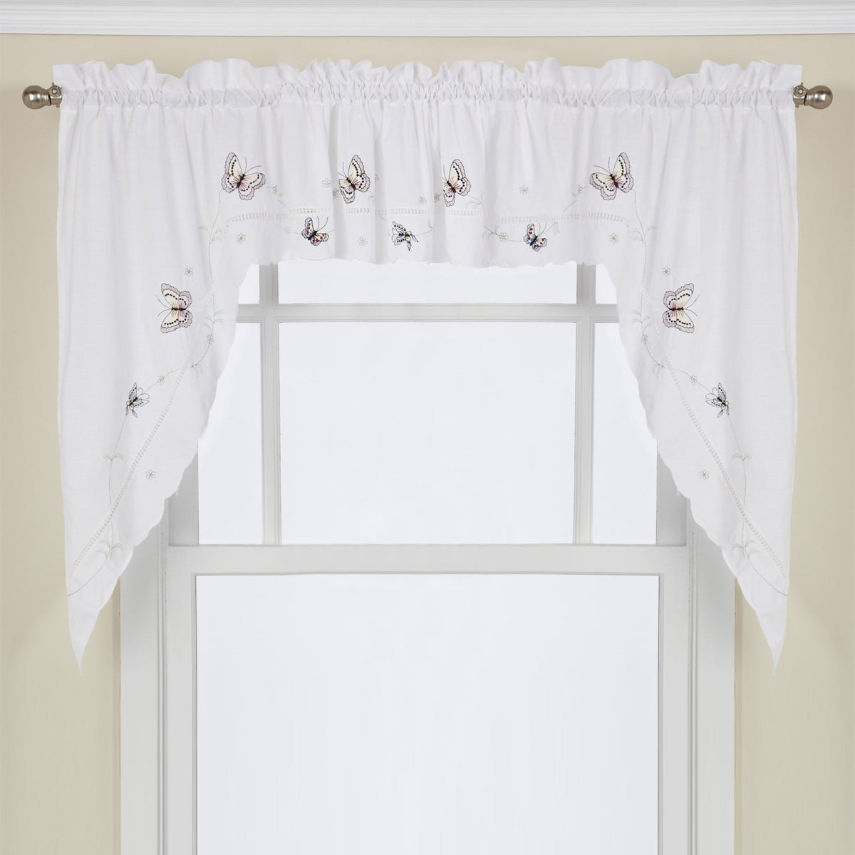 Preferred Floral Embroidered Sheer Kitchen Curtain Tiers, Swags And Valances For Fluttering Butterfly White Embroidered Tier, Swag, Or Valance Kitchen Curtains (View 15 of 20)