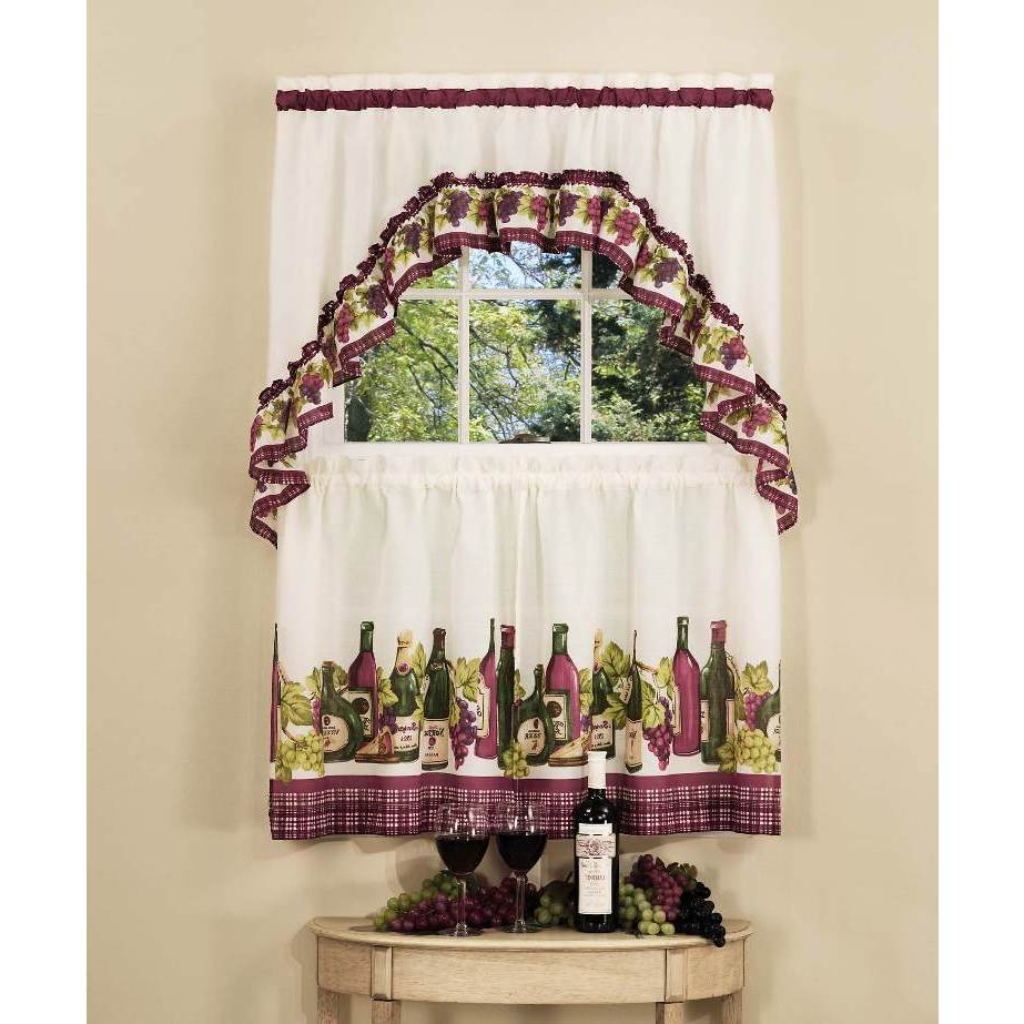 Preferred Grace Cinnabar 5 Piece Curtain Tier And Swag Sets Within Achim Chardonnay Tier And Swag Kitchen Curtain Set (View 6 of 20)