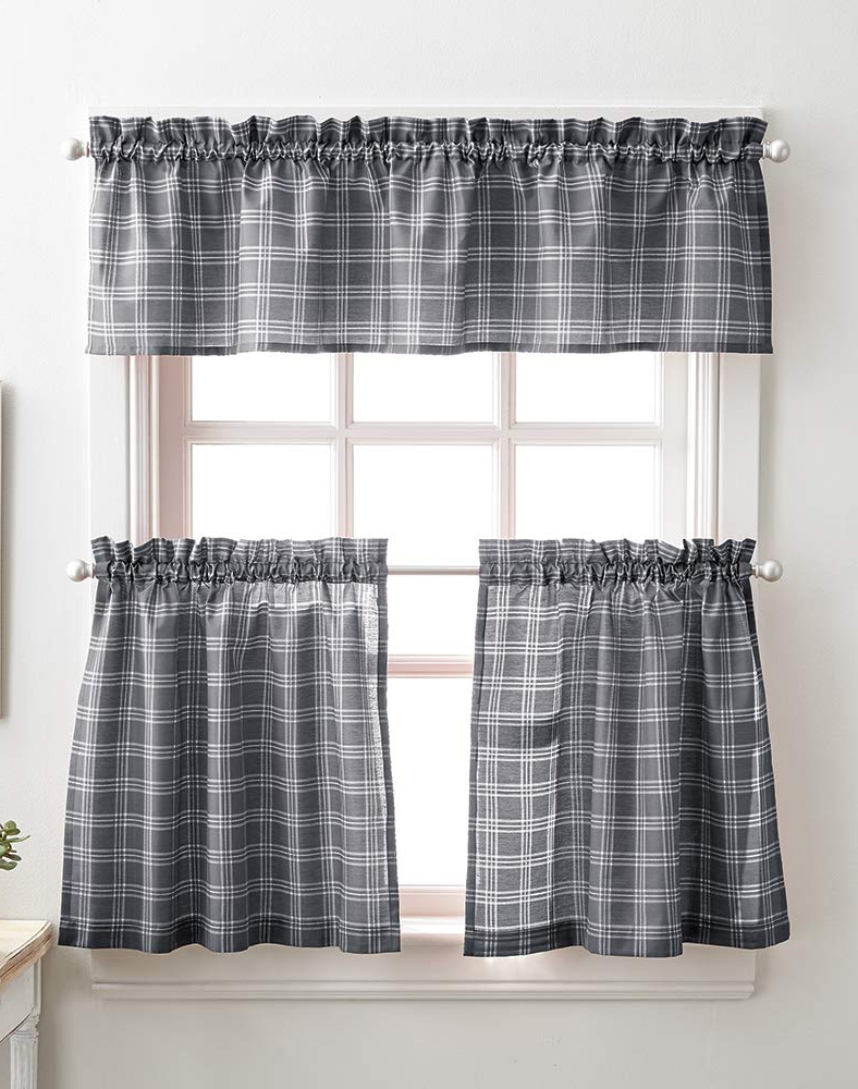 Preferred Lodge Plaid 3 Piece Kitchen Curtain Tier And Valance Sets Pertaining To Classic Lodge Plaid 3 Piece Kitchen Curtain Tier And Valance Set, Grey (View 2 of 20)