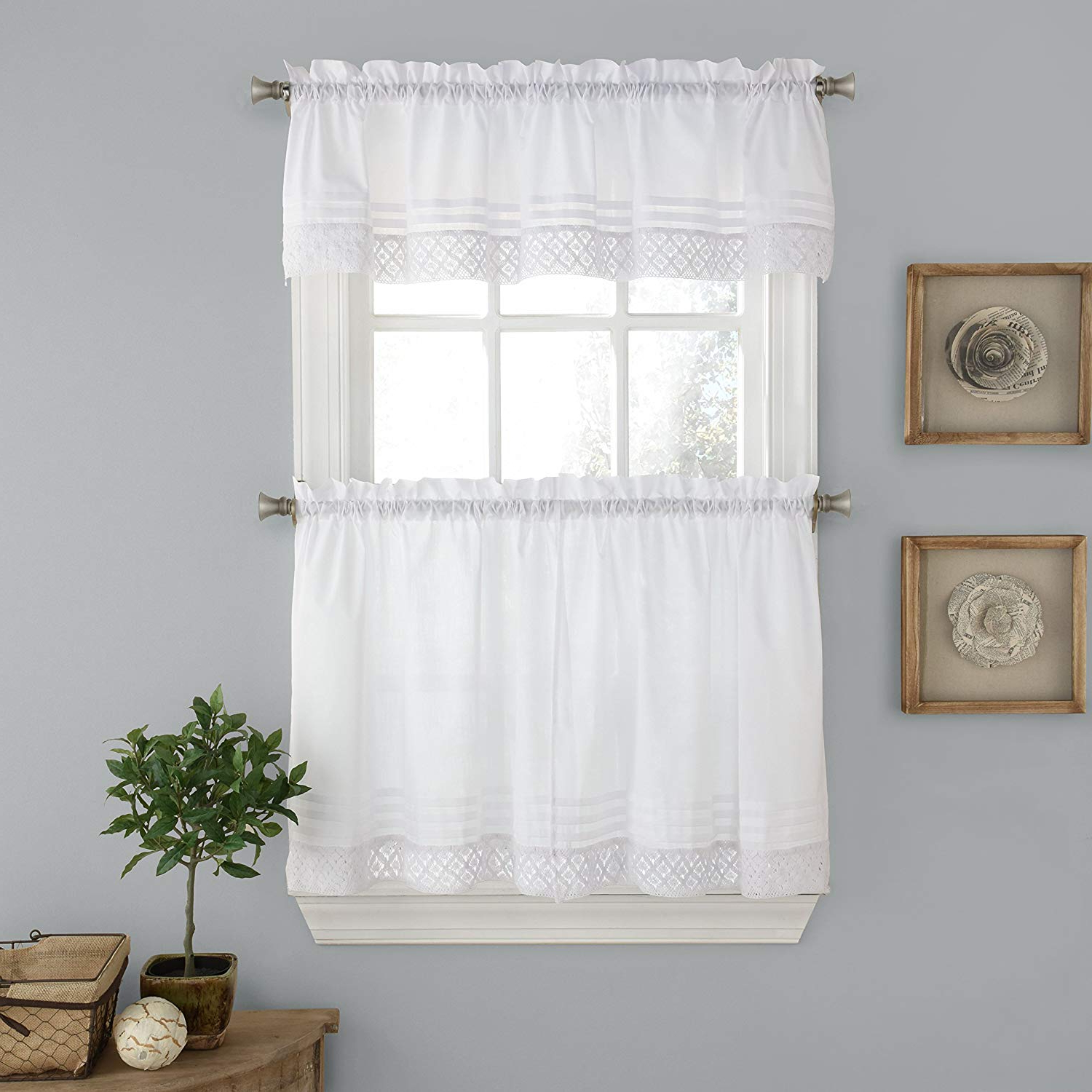 """Preferred Lorraine Home Fashions Pleated Crochet Window Curtain Tier Pair, 56"""" X 24"""", White In Pleated Curtain Tiers (View 2 of 20)"""