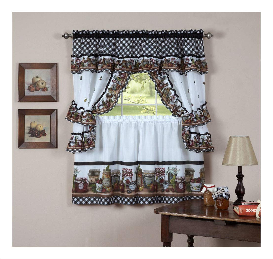 "Preferred Multicolored Printed Curtain Tier And Swag Sets Intended For Amazon: Mason Jar Kitchen Curtain 36"" Tier Pair Valence (View 15 of 20)"