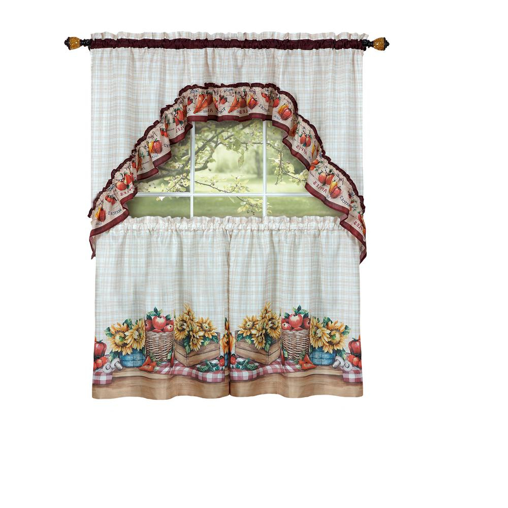 Preferred Multicolored Printed Curtain Tier And Swag Sets Pertaining To Achim Sheer Farmer's Market Multi Colored Printed Tier And Swag Window  Curtain Set – 57 In. W X 36 In (View 16 of 20)