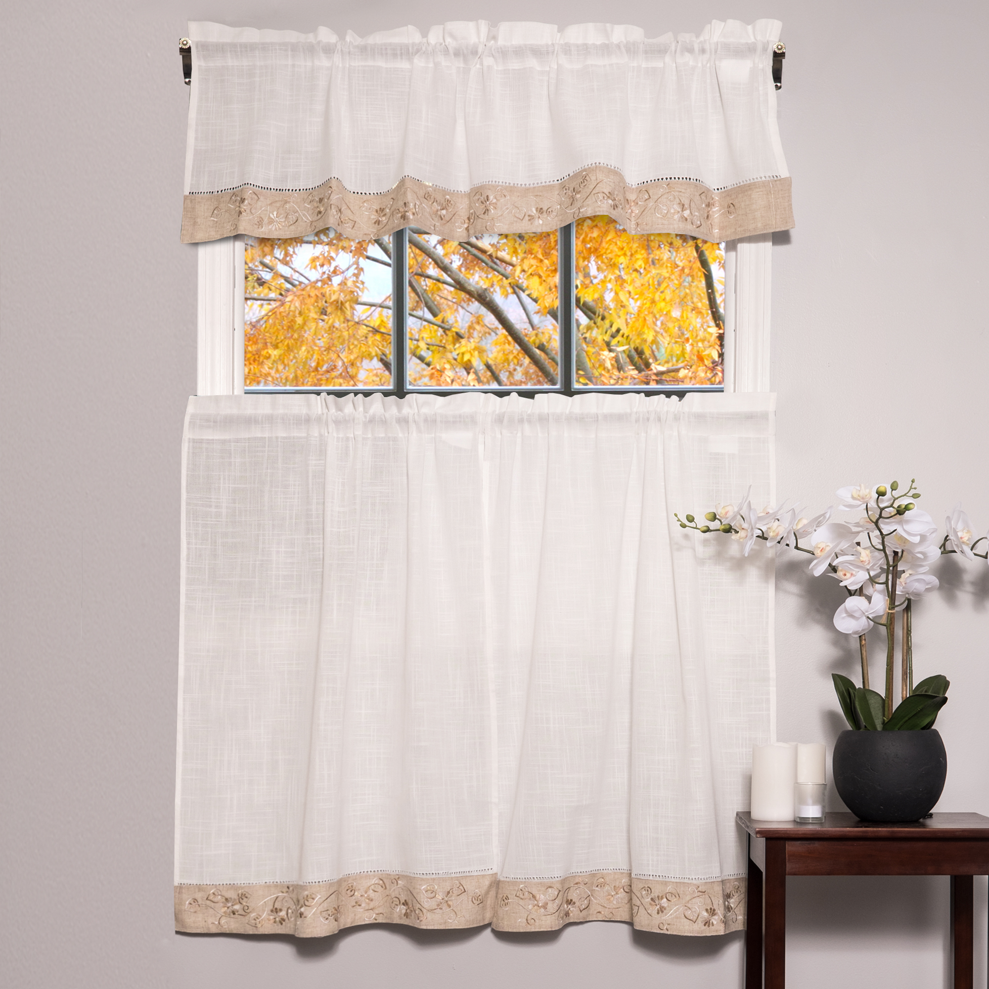 """Preferred Oakwood Linen Style Kitchen Window Curtain 58"""" X 36"""" Kitchen Curtains, Set Of 2, Natural Pertaining To Oakwood Linen Style Decorative Window Curtain Tier Sets (View 5 of 20)"""