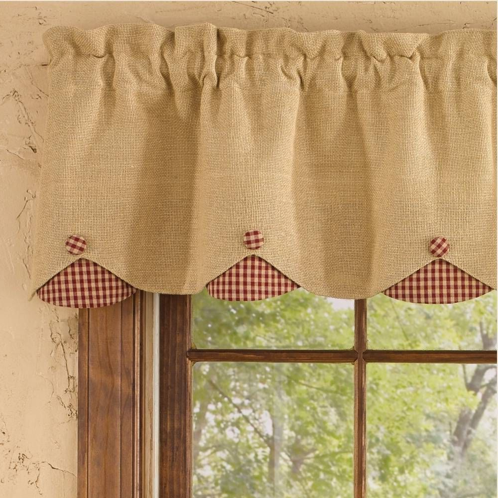 Preferred Red Primitive Kitchen Curtains With Regard To Burlap & Check Red Lined Scallop Valance (View 9 of 20)
