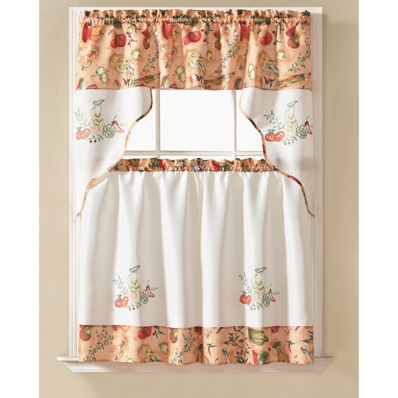 Preferred Rt Designers Collection Urban Embroidered Tier And Valance Kitchen Curtain Tier Set In Delicious Apples Kitchen Curtain Tier And Valance Sets (View 9 of 20)