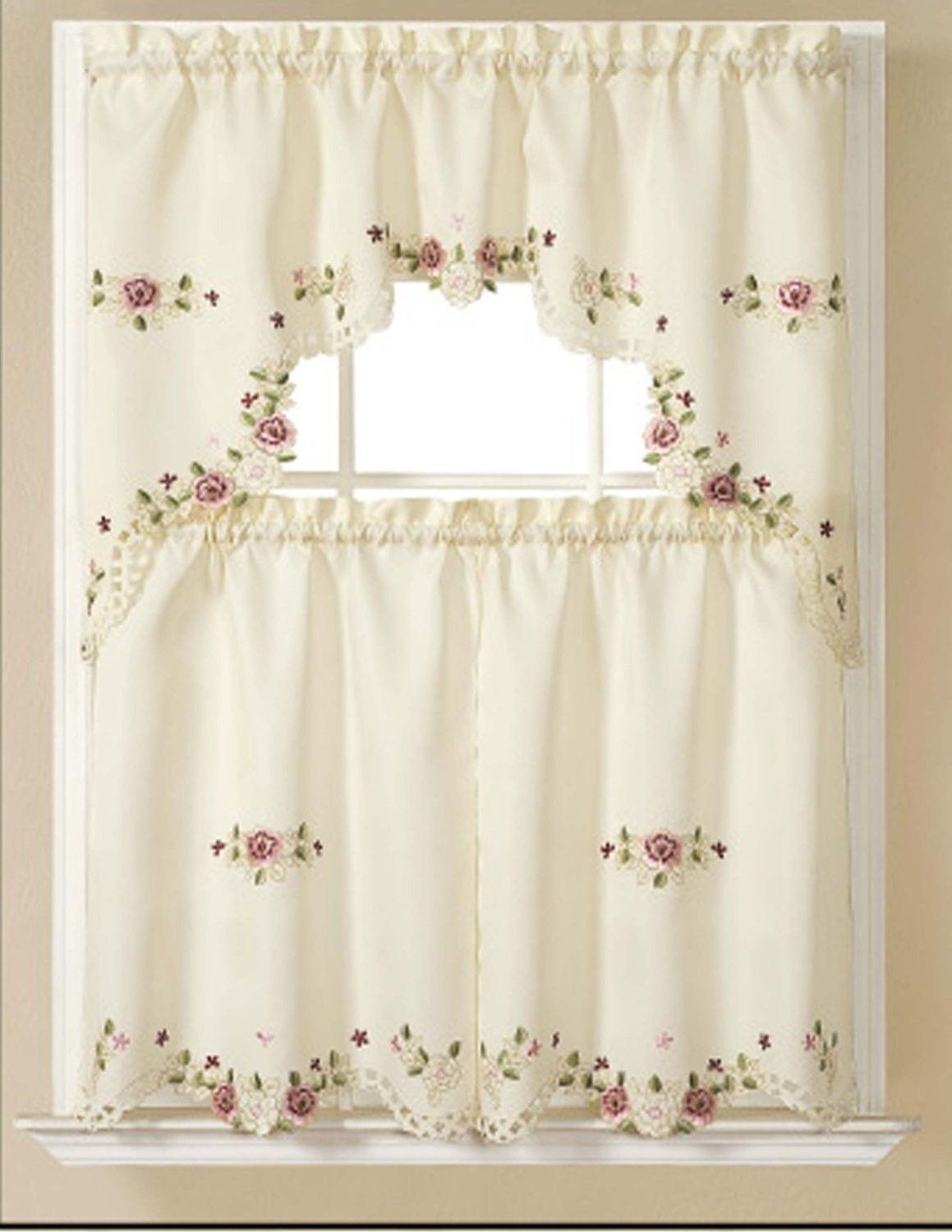 Preferred Spring Daisy Tiered Curtain 3 Piece Sets Within Alisha Elegant Embroidered Kitchen Curtain Swag & Tiers Set (View 13 of 20)