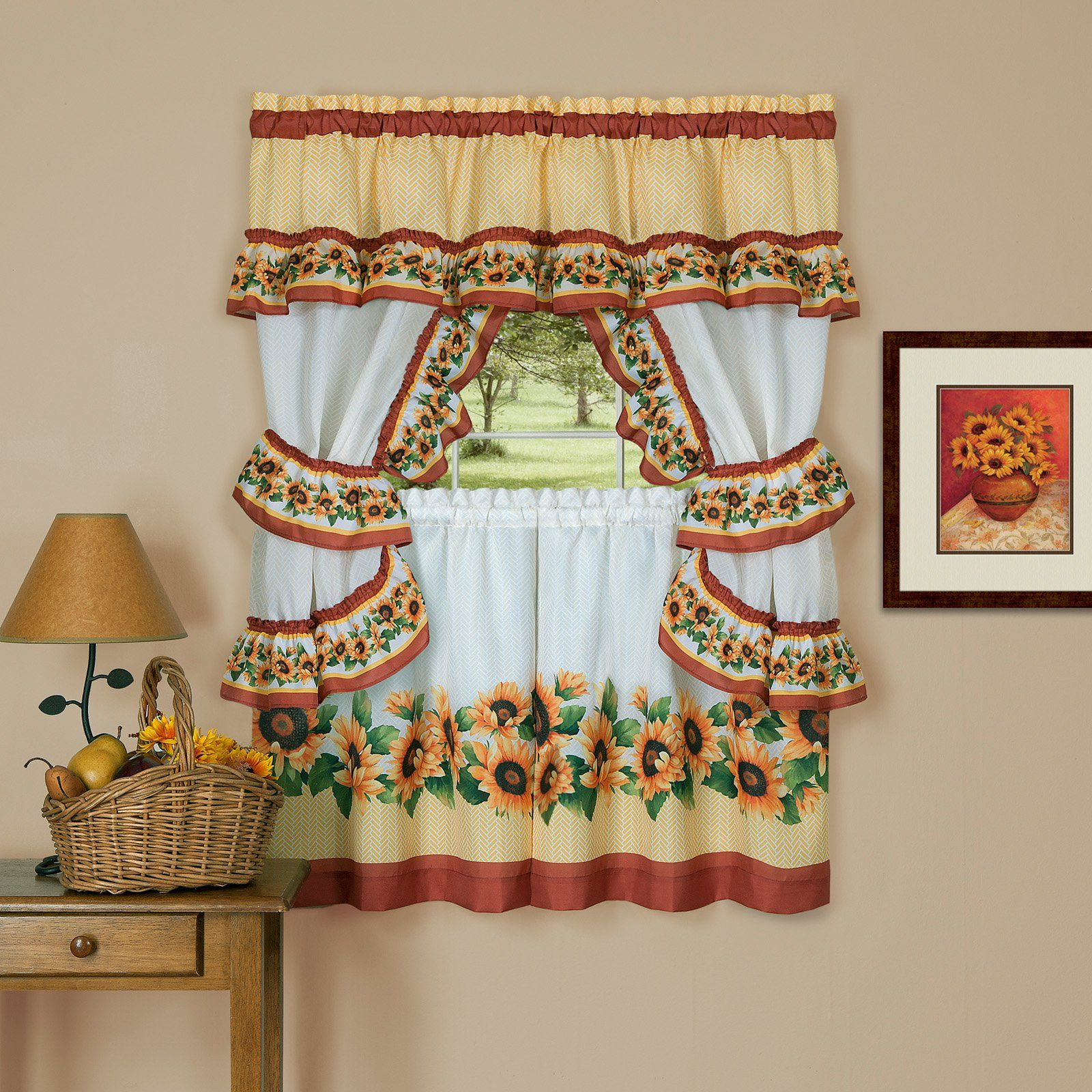Preferred Sunflower Cottage Kitchen Curtain Tier And Valance Sets Intended For Achim Black Eyed Susan Cottage Sunflower Curtain Set (View 3 of 20)
