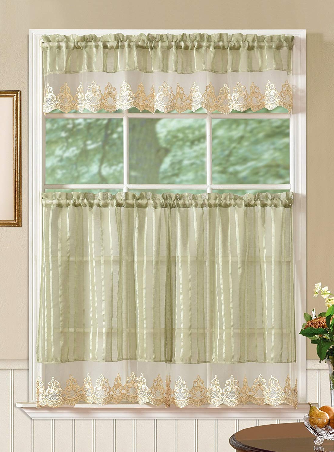 Preferred Top Of The Morning Printed Tailored Cottage Curtain Tier Sets Throughout Rt Designers Collection Tier And Valance Bella Tier & Valance Kitchen Curtain Set, Sage (View 20 of 20)
