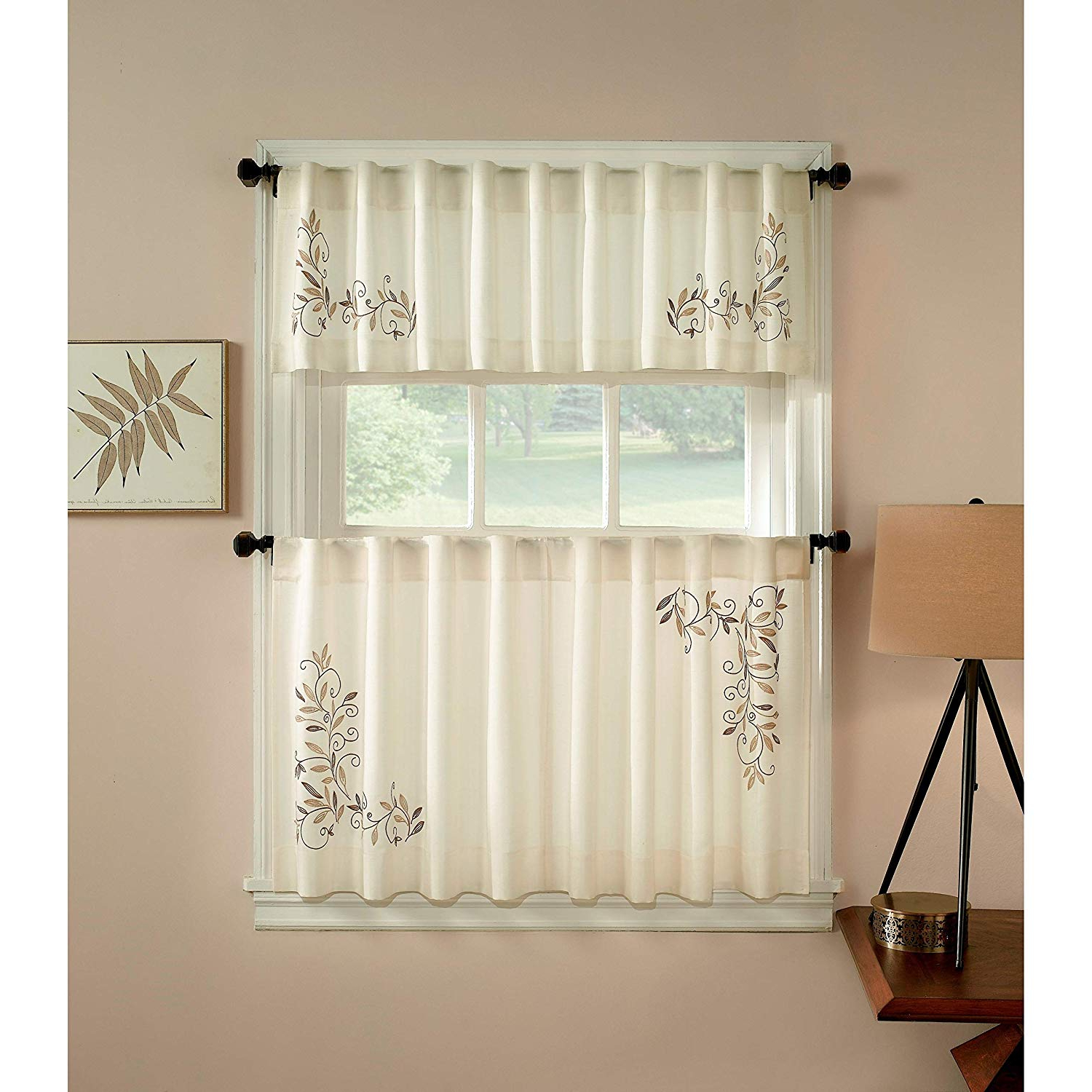 Preferred Window Curtain Tier And Valance Sets Intended For Amazon: Chf Industries Scroll Leaf 3 Piece Curtain Tier (View 5 of 20)