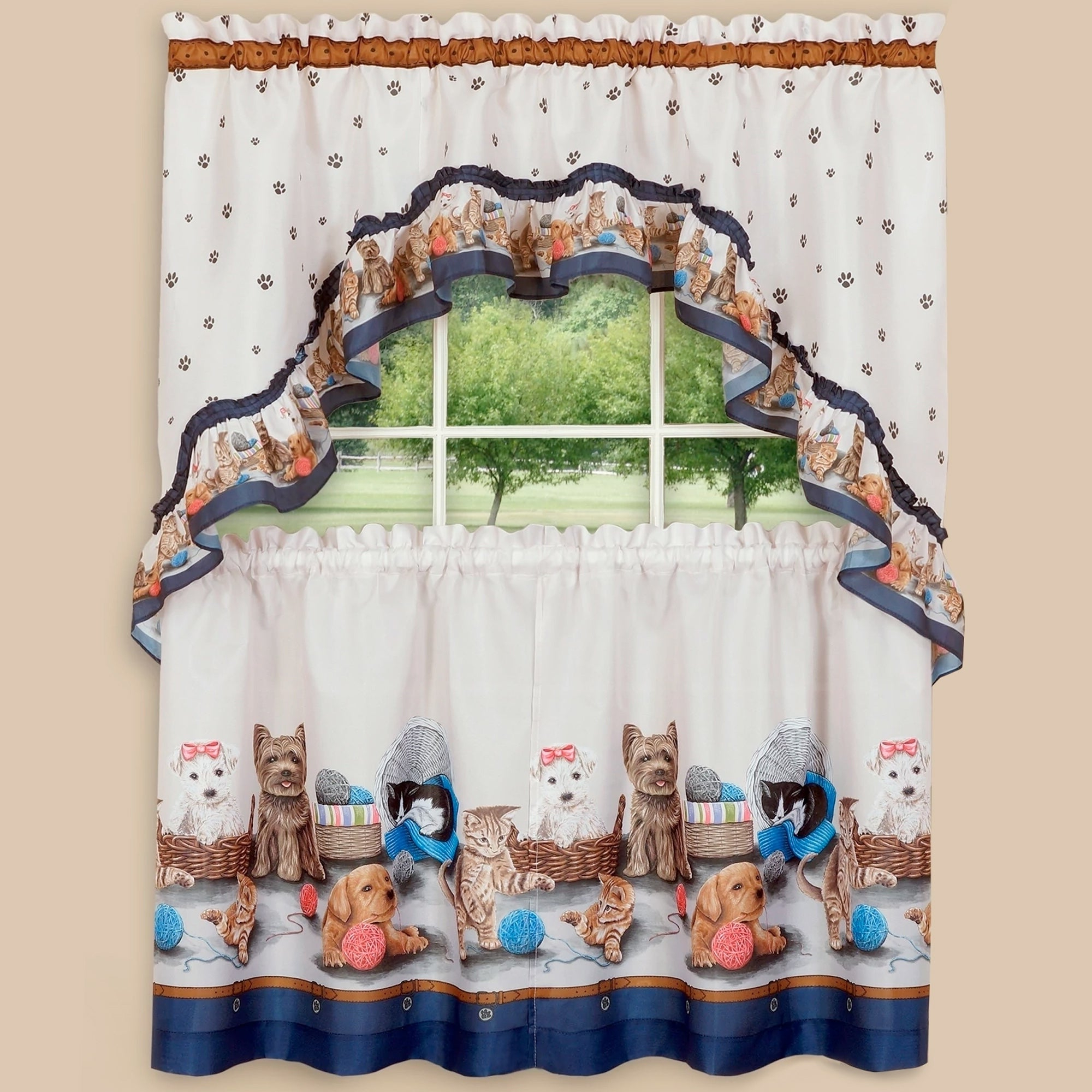 """Pretty Pets Printed Tier And Swag Set (36""""x57"""") Navy For Widely Used Grace Cinnabar 5 Piece Curtain Tier And Swag Sets (View 17 of 20)"""