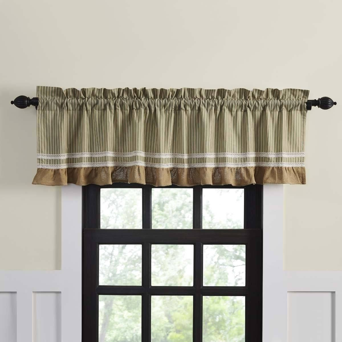 Primitive Home Decor Throughout Rod Pocket Cotton Striped Lace Cotton Burlap Kitchen Curtains (View 3 of 20)