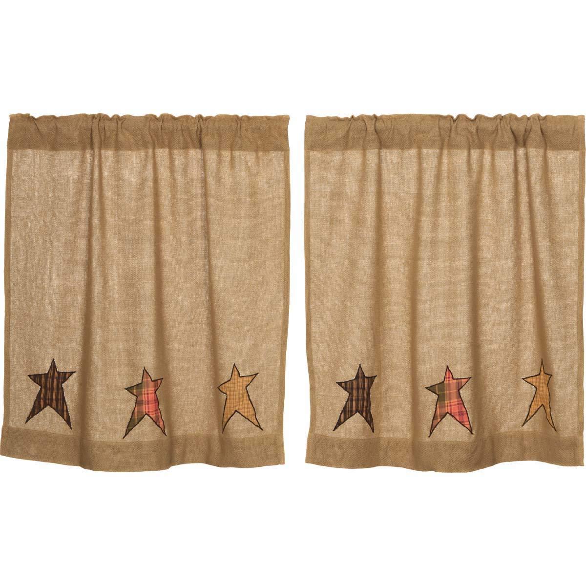 Primitive Kitchen Curtains Regarding Most Popular Vhc Brands Primitive Kitchen Curtains Sutton Rod Pocket Appliqued Cotton Burlap Star 36x36 Tier Pair, Natural Tan (View 17 of 20)