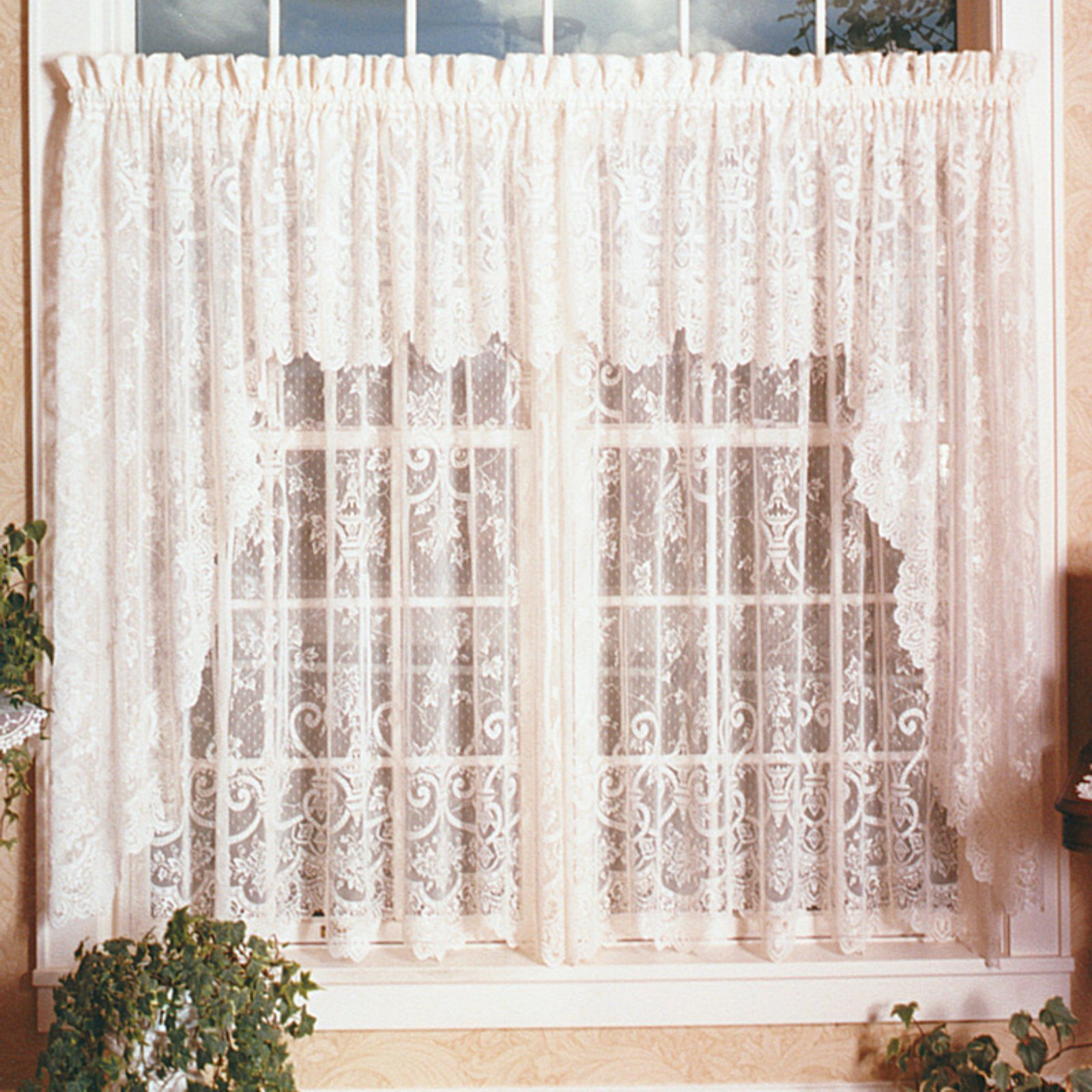 Products In 2019 Pertaining To French Vanilla Country Style Curtain Parts With White Daisy Lace Accent (View 18 of 20)