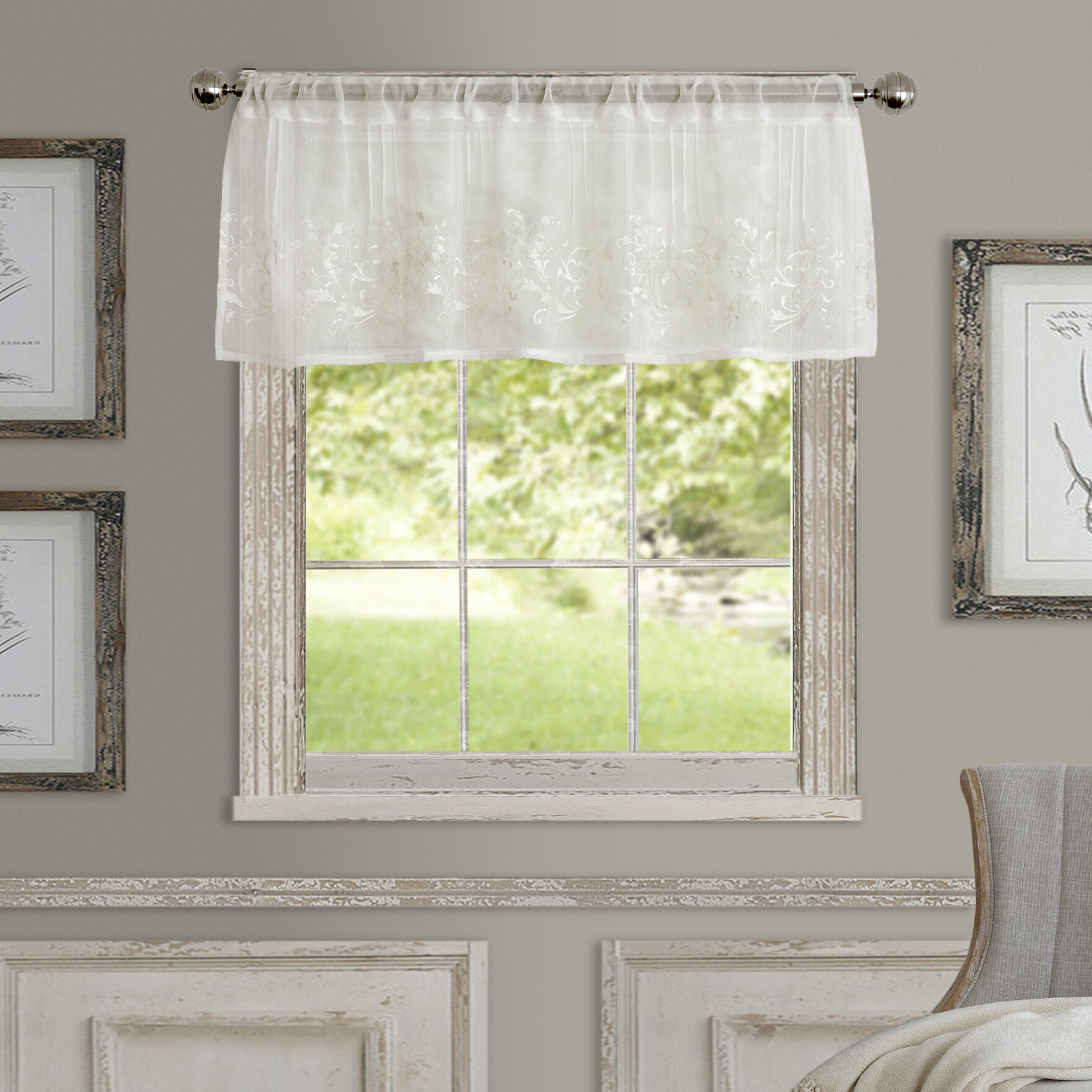 """Purkey 60"""" Window Valance For Most Recently Released White Tone On Tone Raised Microcheck Semisheer Window Curtain Pieces (View 20 of 20)"""