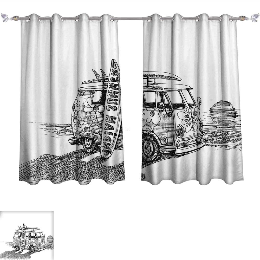 Recent Amazon: Qinqin Home Window Curtain Fabric Sketchy Hot For Vintage Sea Shore All Over Printed Window Curtains (View 10 of 20)