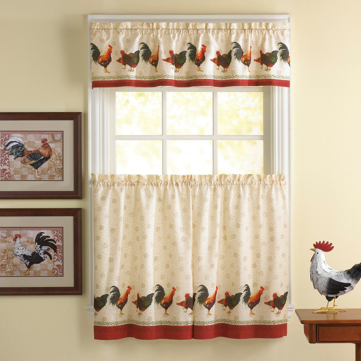 Recent Awesome Kitchen Curtains Sets #1 Country Rooster Kitchen With Traditional Two Piece Tailored Tier And Swag Window Curtains Sets With Ornate Rooster Print (View 12 of 20)