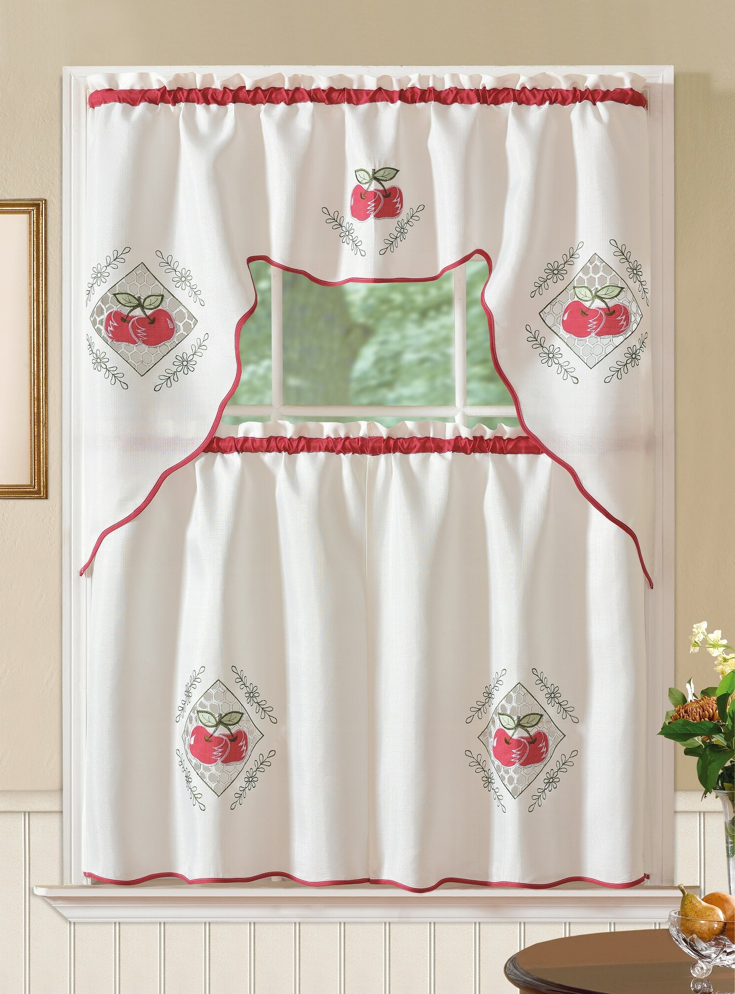 Recent Details About August Grove Marcel Red Apple 3 Piece Kitchen Curtain Set Within Red Delicious Apple 3 Piece Curtain Tiers (Gallery 2 of 20)