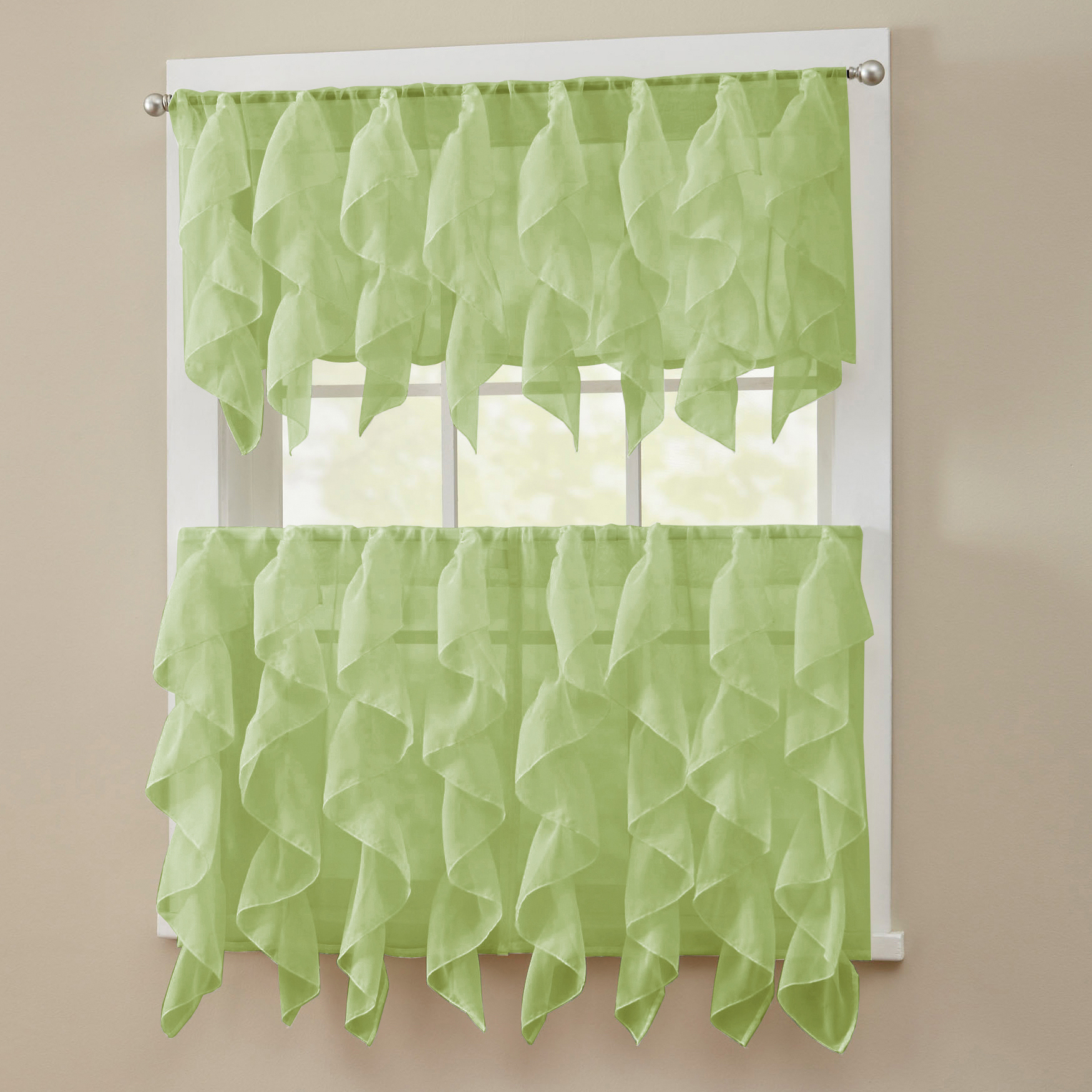 Recent Details About Sheer Voile Vertical Ruffle Window Kitchen Curtain Tiers Or Valance Sage Throughout Chic Sheer Voile Vertical Ruffled Window Curtain Tiers (View 9 of 20)