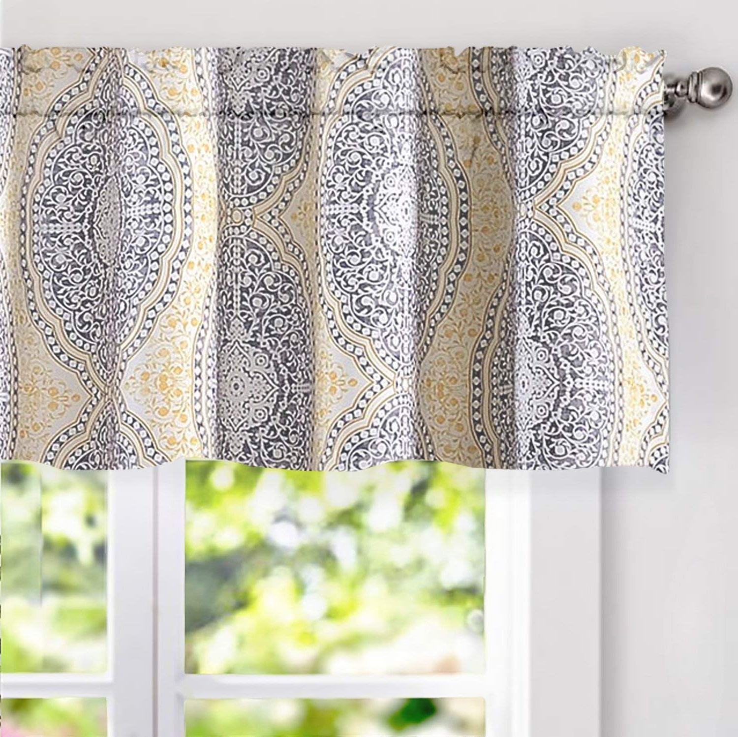 Recent Driftaway Adrianne Damask And Floral Pattern Window Curtain Valance 52 Inch 18 Inch Yellow And Gray Throughout Floral Pattern Window Valances (Gallery 14 of 20)