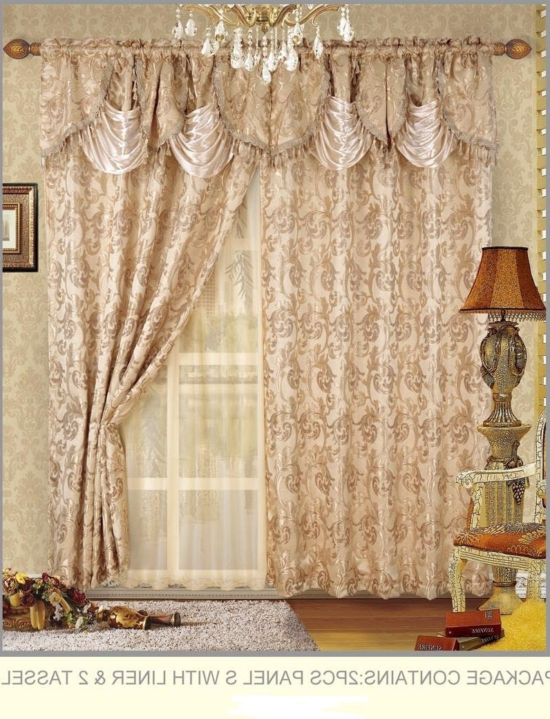 Recent Fancy Collection Embroidered Curtain Set 4 Piece Gold Beige Drapes With Backing & Valance & Tie Backs # B 30 Throughout Embroidered 'coffee Cup' 5 Piece Kitchen Curtain Sets (View 14 of 20)
