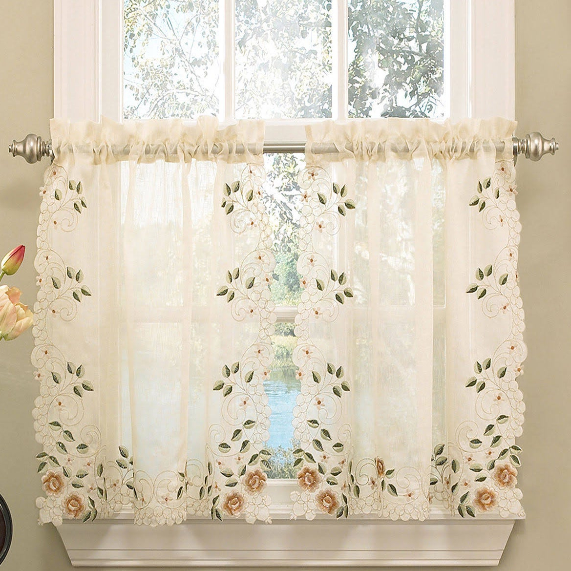 Recent Floral Embroidered Sheer Kitchen Curtain Tiers, Swags And Valances In Old World Floral Embroidered Sheer Kitchen Curtain Parts Tiers, Swags And Valances (View 9 of 20)