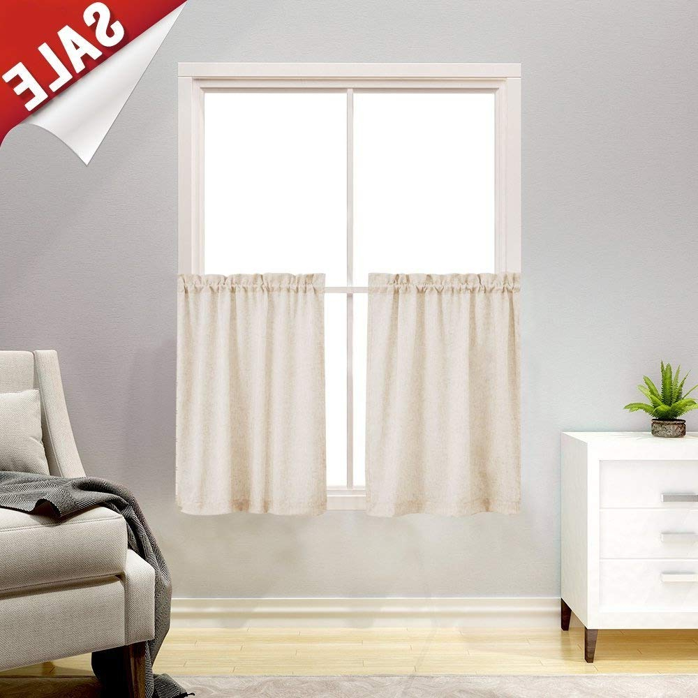 Recent Jinchan Tier Curtains Linen Textured 24 Inches Long Curtains For Kitchen Small Cafe Curtains For Window Treatment Set 2 Panels Crude Regarding Touch Of Spring 24 Inch Tier Pairs (View 6 of 20)
