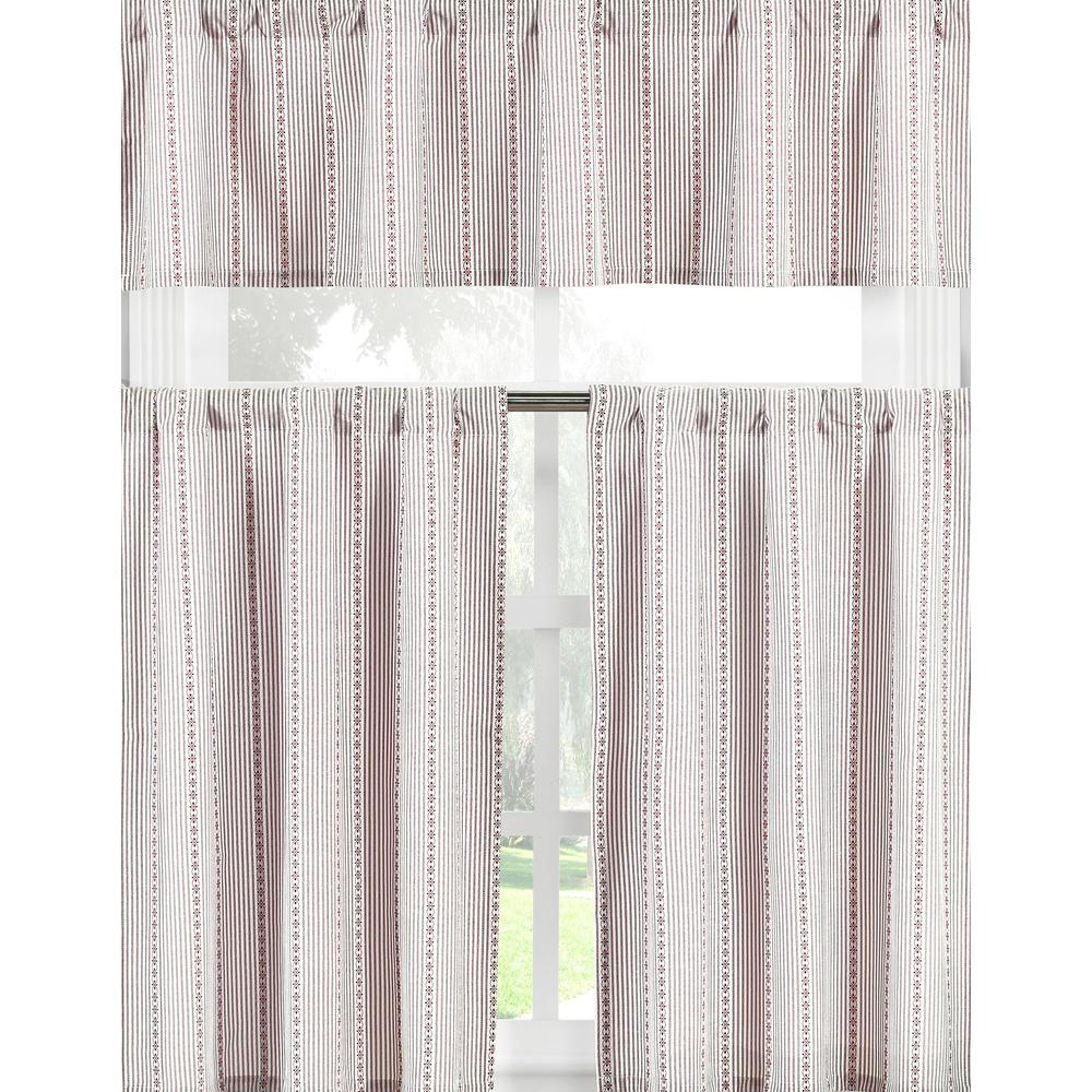 Recent Kitchen Burgundy/white Curtain Sets In Duck River Kylie Burgundy White Kitchen Curtain Set – 58 In. W X 15 In. L  In (3 Piece) (Gallery 18 of 20)
