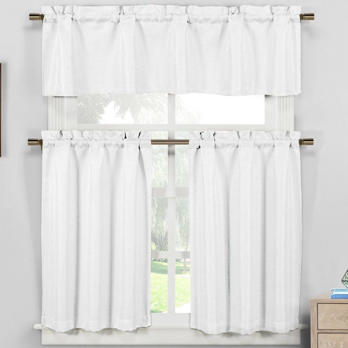 "Recent Lark Manor Vierzon Tier Curtain Size: 24"" H X 60"" W X (View 5 of 17)"