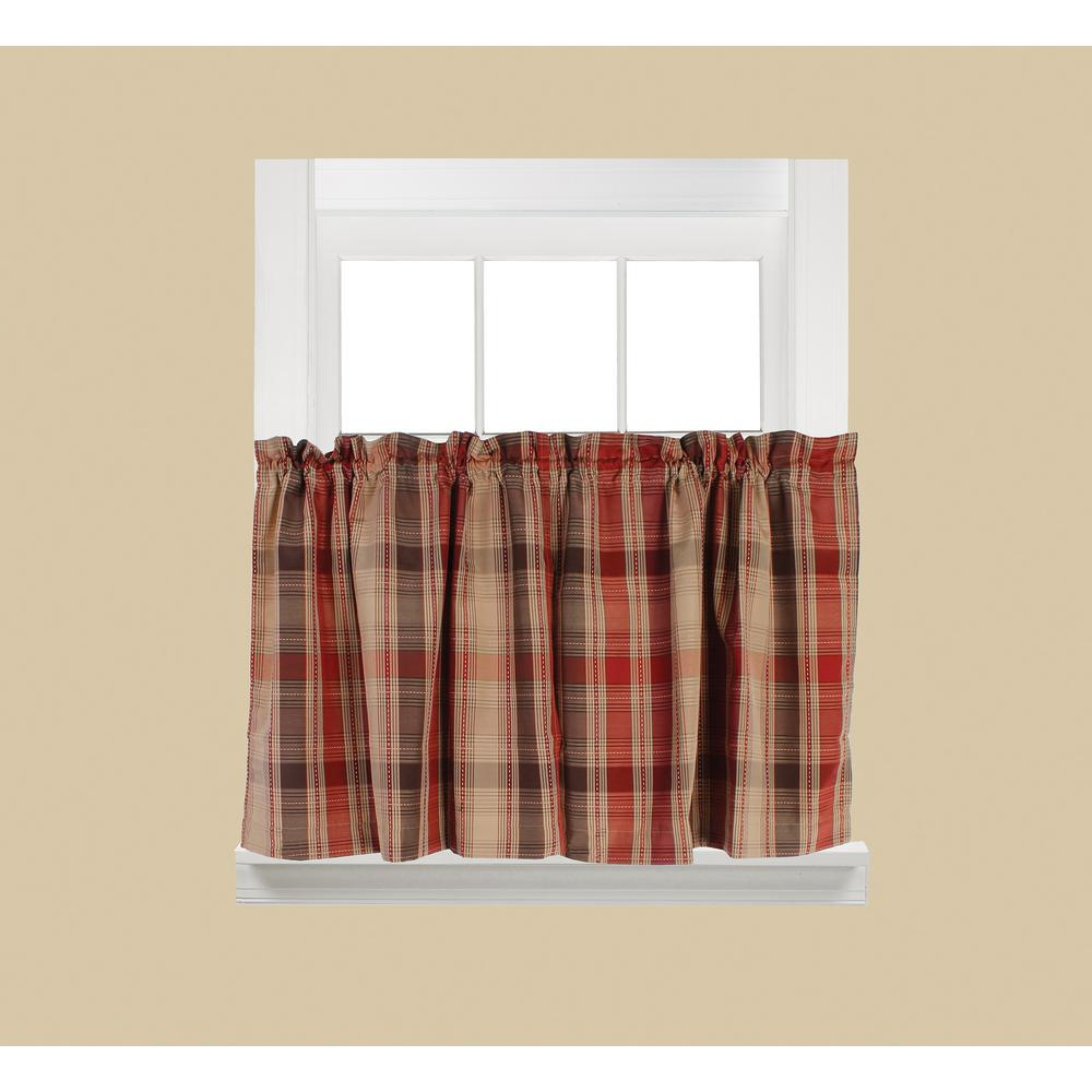 Recent Rod Pocket Kitchen Tiers In Saturday Knight Cooper Red Polyester Rod Pocket Tier Curtain – 58 In. W X  36 In. L (Gallery 18 of 20)