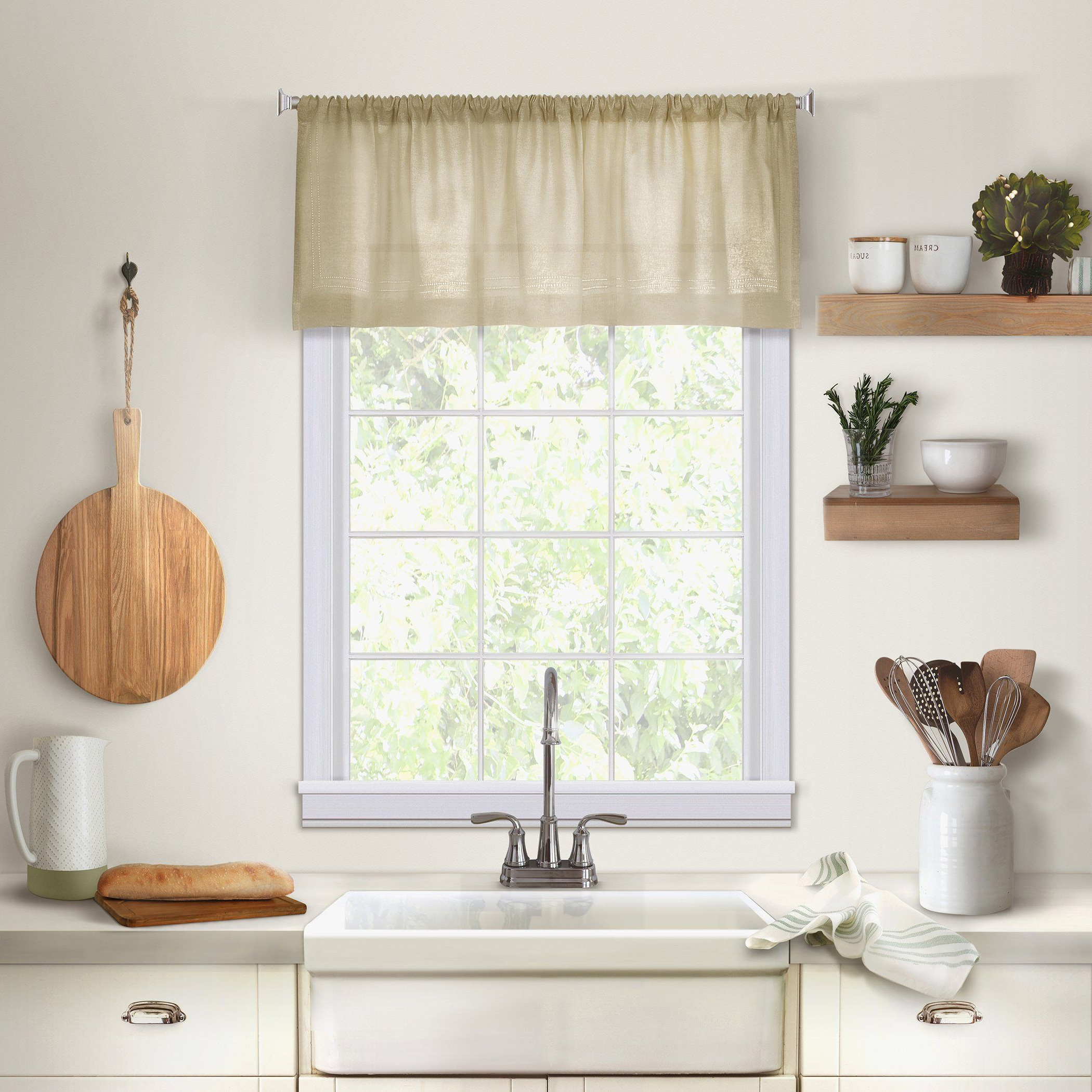 Recent Rod Pocket Kitchen Tiers Pertaining To Cameron Linen Rod Pocket Kitchen Tier And Valance Collection (View 12 of 20)